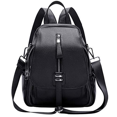 ALTOSY Weiches Echtes Leder Rucksack Tasche Damen Convertible Rucksäcke Umhängetasche (S85, Schwarz)