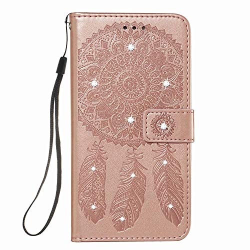 Samsung Galaxy A71 5G Case, Bling Glitter Feathers Shockproof Flip PU Leather Wallet Notebook Phone Case with Magnetic Stand Card Holder Slots Protective Cover for Samsung Galaxy A71 5G Pink