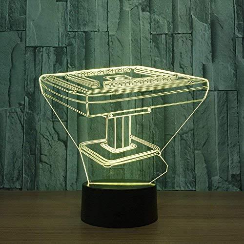 Mahjong Table 3D Illusion 7 Farbige optische Lampe LED-Nachttischlampe mit USB-Kabel;Fernbedienung Geschenk Schlafzimmer Dekoration