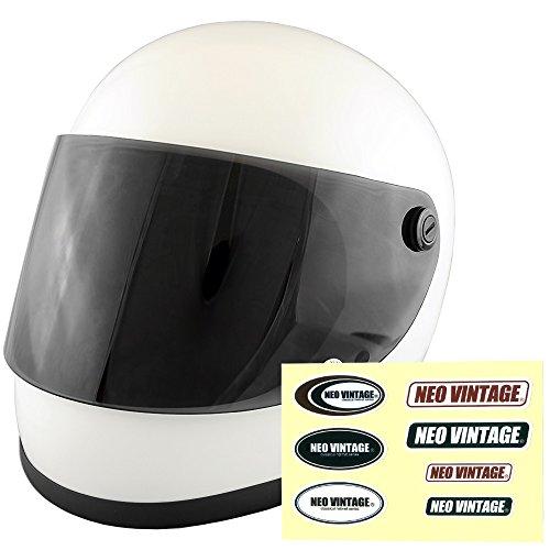 NEO VINTAGE レトロ族ヘルタイプ フルフェイス SG規格品 ステッカー付 [ホワイト×ダークスモークシールド 白 Lサイズ:59-60cm対応] VT-7 バイクヘルメット