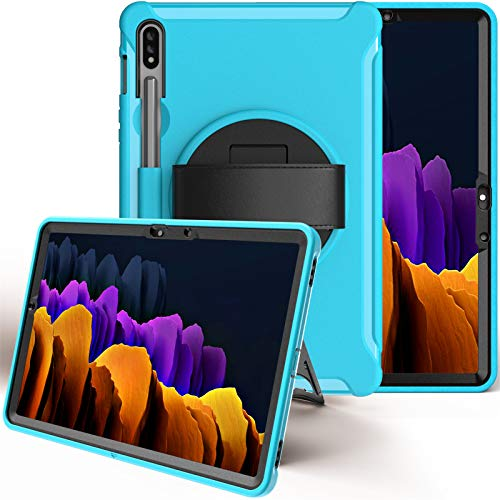 Case for Samsung Galaxy Tab S7 11 inch 2020 (Model:SM-T870/T875), Heavy Duty Shockproof Smart Case with [360 Rotatable Stand] [Hand Strap/S Pen Holder ] Drop Protection Case,Light-Blue