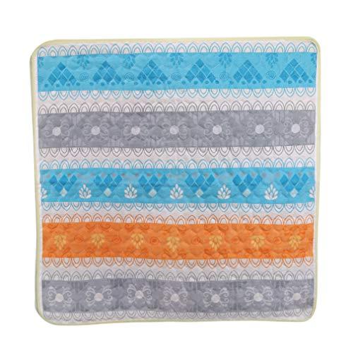Yeucan-Aquarell-Graffiti-Sitzkissenauflage Bunte geometrische symmetrische Sofakissen-waschbare Sitzmatte, Blaue graue orange Linien