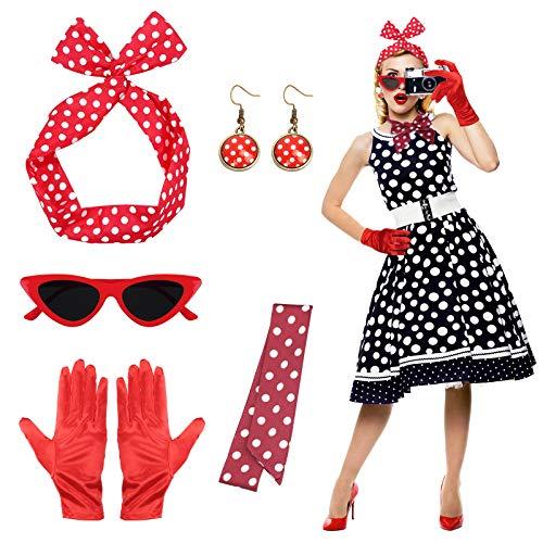50 Años de Accesorios para Disfraces MEZOOM 5 Set Accesorios de Fiesta de los Años 50 Conjunto de Accesorios Mujer con Lunares para Disfraz de Fiesta de Cosplay Vintage (Rojo)