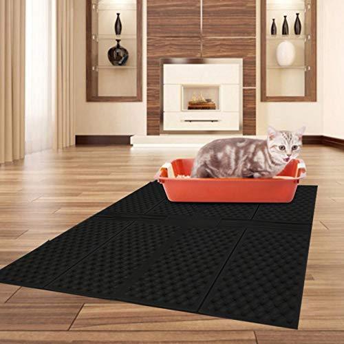 KUIDAMOS Alfombra de Arena para Gatos Anti-Suciedad para Caja de Arena para Gatos con función de Masaje(Black, Large Folding Cat Litter Pad)