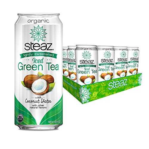 Steaz Organic Lightly Sweetened Iced Green Tea with Coconut Water, 16 FL OZ (Pack of 12)