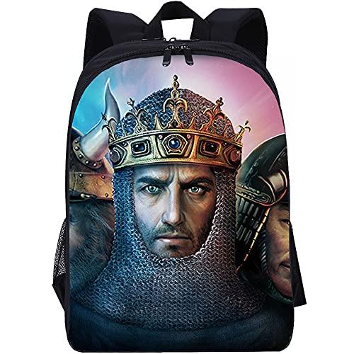 Sac à dos d'école pour enfants garçons filles Age of Empires II: Game Characters of Emperor Century Casual Daypack Sacs à dos de voyage légers Sac à dos de mode sac à dos de voyage sac à dos en toile