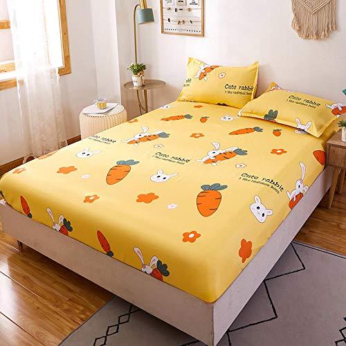 Amswsi Lenzuolo copriletto Fisso copriletto 1.2m1.5m Materasso Antipolvere Protezione Lenzuolo Full-Bunny Carrot_1.8 * 2.2m
