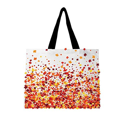 Tote Bag for Women, Extra Large Canvas Tote Bag with Interior Pocket, Maple leaves Pattern