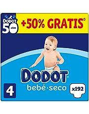 DODOT Bebé-Seco - Pañales Talla 4, 192 Pañales, 9-14kg, BOX ANIVERSARIO +50% GRATIS