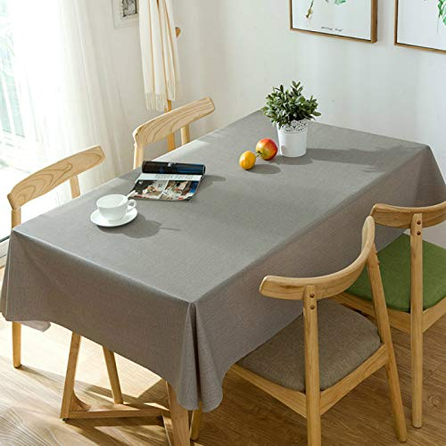 YOUYUANF Tablecloth rectangle oval linen disposable Water-proof tablecloth wipe clean kitchen tablecloth outdoor washable table coverGrey120x170cm