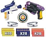 Riviax - Pistolas de Juguete para Niños con Dardos de Espuma, 2 Blaster Galácticos + 60 Balas/Flechas + 2 Gafas Protección y 1 Objetivo de Disparo o Tiro, Regalo Cumpleaños y Fiestas Niño/a 3-12 Años