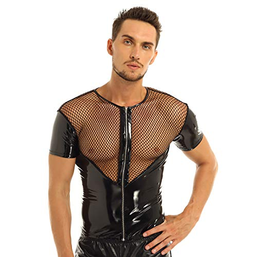 Mufeng Herren Sexy Netzhemd Wetlook Transparent Patchwork Mesh Tops Spleiß Lack Leder mit Reißverschluss Clubwear DJ Kostüm Schwarz 2XL