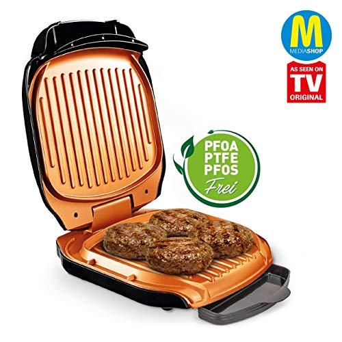 MediaShop Livington Low Fat Grill – kompakter Kontaktgrill für fettarmes Grillen – Elektrogrill mit Antihaft-Keramikbeschichtung und Fettablauf - 2