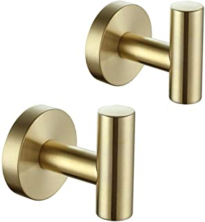 Miyili Brushed Gold Towel Hook SUS 304 Stainless Steel Coat/Robe Clothes Hook for Bath Kitchen Garage Wall Mounted 2 Pack,...