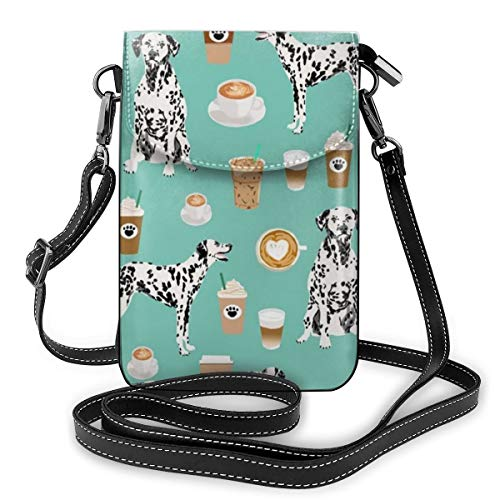 NiYoung Women Girls Small Crossbody Cell Phone Purse Wallet with Card Slots Mini Messenger Shoulder Bag Wallet for Travel Work Outdoor, Dalmatians Cute Mint Coffee Best Dalmatian Dog