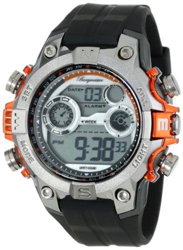 Burgmeister Armbanduhr für Herren mit Digital Anzeige, Quarz-Uhr und Silikonarmband, Wasserdichte mit zeitlosem, schickem Design - klassische, elegante Uhr für Männer - BM800-112B Digital Power