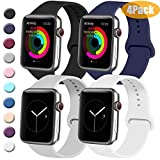 Tobfit 4 Pack Sport Bands Compatible with Apple Watch Band 38mm 42mm 40mm 44mm, Soft Silicone Replacement Band Compatible with Watch Series 5/4/3/2/1 (Black/Gray/White/Navy Blue, 42mm/44mm S/M)