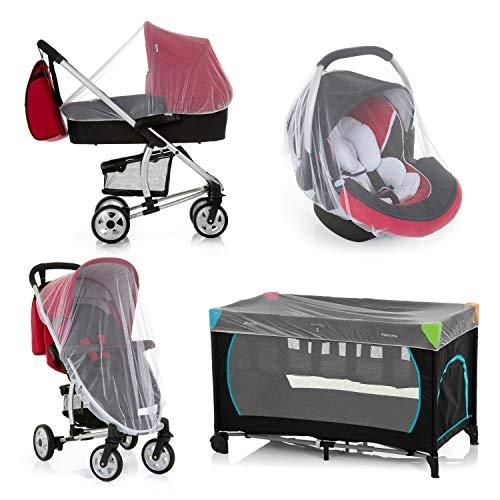 Hauck Protect Me Universal Insketenschutz, für Babyschalen, Mückennetz für Kinderwagen, Buggys und Reisebetten, Moskitonetz mit Gummizug, weiß