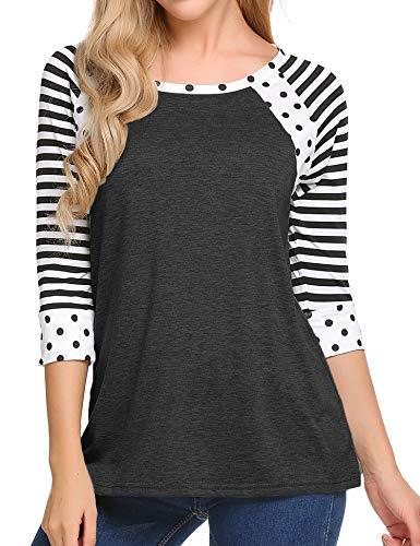 Zeagoo Women Loose Striped Scoop Neck 3 4 Sleeve T-shirt Blouse Plus Size Tunic Tops, '93_dark Gray', 3XL