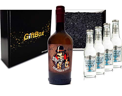 Gin Tonic Giftbox Geschenkset - Gin del Professore Monsieur 0,7l 700ml (43,7% Vol) + 4x Fever Tree Naturally Light Tonic Water 200ml inkl. Pfand MEHRWEG - [Enthält Sulfite]
