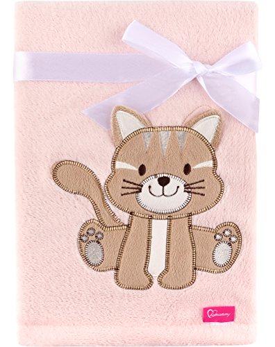 Be Mammy Kuschlige Babydecke Kuschel Decke Tagesdecke mit 3D Applikation 76 x 102 cm BE20-168 (Rosa - Katze)