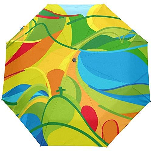 Coloridas Flores Tropicales Floral Hippie Auto Abrir Cerrar Sol Lluvia Paraguas