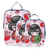 Cubo de embalaje de compresión Geisha de dibujos animados lindo con accesorios de viaje de viaje de Japón Bolsas de embalaje expandibles para equipaje de mano, viaje (juego de 3)