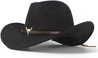 SHENTIANWEI Men Women Wool Western Cowboy Hat with Cow Head Leather Band Fascinator Sombrero Hat Church Hat Size 56-58CM