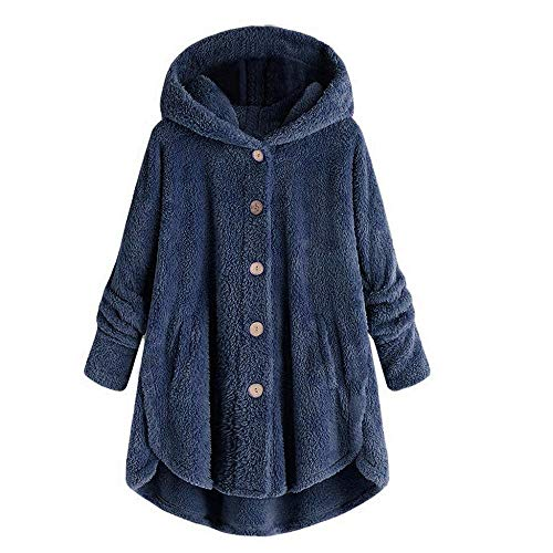 YEBIRAL Oversize Damen Plüschmantel Winter Teddy-Fleece Hoodie Lose Warm Button Down Mantel Einfarbig Plüschjacke Winterjacke Langarm Pullover Sweater Outwear(3XL,Marine Blau)