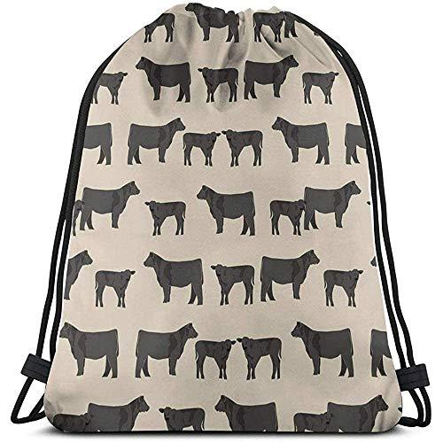 wallxxj Drawstring Bags Angus Cattle Backpack Pull String Bags Bulk Sports Storage Gym Mochilas con Cordón Adultos Mochila Camping Picnics