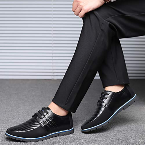 COSIDRAM Men Casual Shoes Loafers Sneakers Breathable Comfort Walking Shoes Fashion Driving Shoes Luxury Leather Shoes for Male Business Work Office Dress Outdoor Black 6