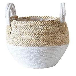 bulingbuling Paille Pot De Fleurs Seagrasss Paniers Pique-Nique Cache-Pot en Rotin Tote Ventre Panier en Rotin Panier De…
