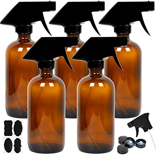Youngever 5 Pack Empty Amber Glass Spray Bottles, 8 Ounce Refillable Container for Essential Oils, Cleaning Products, or Aromatherapy, Trigger Sprayer with Mist and Stream Settings