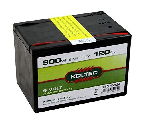 Koltec ALKALINE 120Ah - 9V Weidezaunbatterie, Trockenbatterie, Batterie für Weidezäune und Elektrozäune