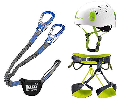 LACD Klettersteigset Pro Blue + Klettergurt Camp Größe M + Helm Titan White 48-56cm