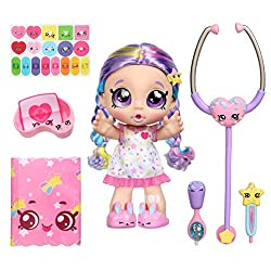 Pre-school Kindi Kids Electronic 10 inch doll and 6 Shopkin Accessories  Pick up Rainbow Kate to hear & feel her Shiver & Shake! Rainbow Kate is so interactive  She talks, burps & toots! Listen to my heartbeat through the Shopkins Stethoscope! Take m...