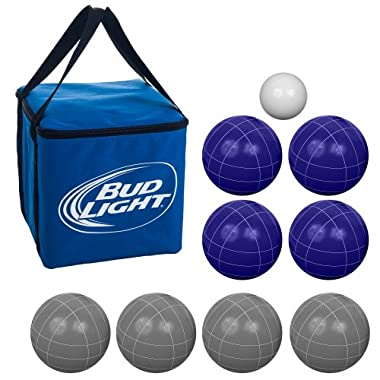 Bocce Ball Set- Bud Light Regulation Outdoor Family Bocce Game for Backyard, Lawn, Beach and More- 8 Balls, Pallino, and Carrying Case by Hey! Play!