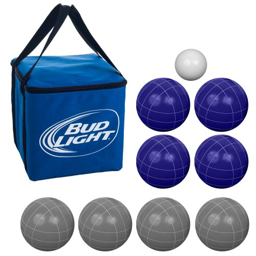 Bocce Ball Set- Bud Light- Regulation Outdoor Family Bocce Game for Backyard, Lawn, Beach and More- 8 Balls, Pallino, and Carrying Case by Hey! Play!