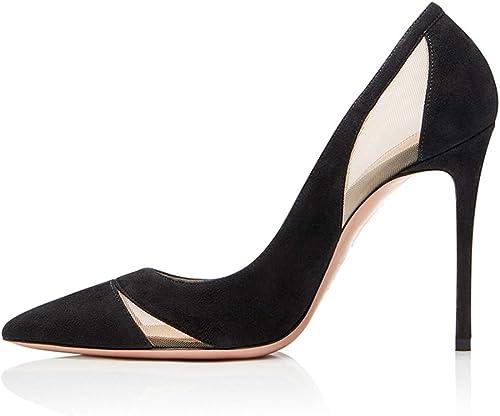 NIUYUAN Escarpins Femmes Talon Haut Sexy Chaussures Daim Velours Mariage Mariage Chaussures Taille34-46,noir,36  liquidation de la boutique
