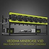 veddha Deluxe 8GPU minercase V3D 8Bay aluminio apilable minería Rig marco al aire libre Caso (Blackstorm/amarillo)