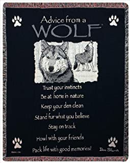 Throws - Advice from a Wolf Tapestry Throw - Sofa Throw Blanket -Lodge Decor