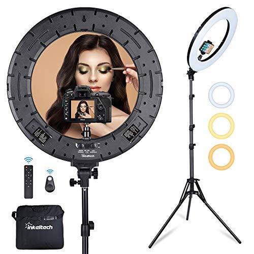 Inkeltech Ringlicht – 45,7 cm 60 W dimmbares LED-Ringlicht-Kit mit Ständer – Einstellbare 3000-6000 K Farbtemperatur Beleuchtung für Vlog, Make-up, YouTube, Kamera, Foto, Video – Steuerung mit Fernbedienung