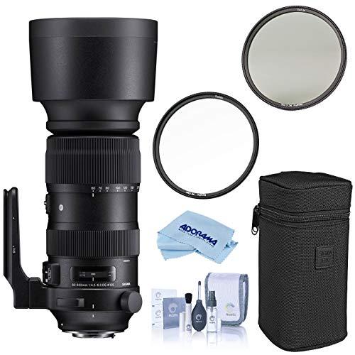 Sigma 60-600mm F4.5-6.3 DG OS HSM Sports Camera Lenses, Black (730954), Canon EF Mount Bundle with Haida 105mm NanoPro MC Circular Polarizer Filter, Haida 105mm NanoPro MC Clear Filter, Cleaning Kit