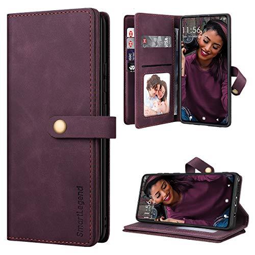 SmartLegend Handyhülle für Samsung Galaxy Note 10 Lite Hülle Premium Leder PU mit 10 Kartenfach Flip Hülle Magnet Klapphülle Silikon Bumper Schutzhülle für Samsung Note 10 Lite Tasche - Wein Rot