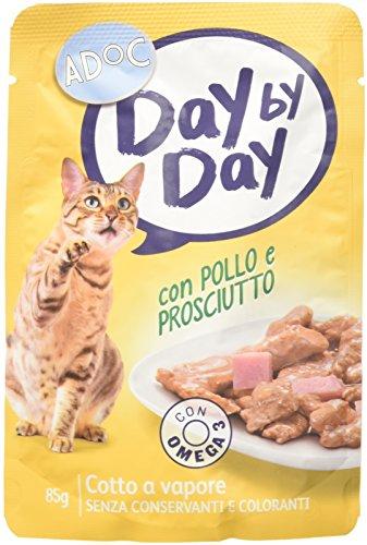 ADOC Day by Day Pollo y jamón para Gatos Adultos, Pack de 24Unidades