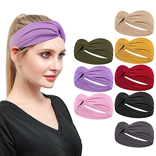 Loritta 8 Pack Fashion Headbands for Women Cute Knotted Turban Womens Head Bands Yoga Workout Hair Band Wide Hair Accessories Gifts, Multi-colored
