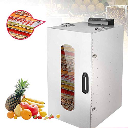 Lowest Price! Food Dehydrator,1200W Commercial Stainless Steel Dehydrator,Raw Food,Jerky Fruit,Veget...