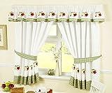 Fruits Cortinas para Cocina, Plisadas y con alzapaños, Color Rojo/Blanco, 117x 107 cm, poliéster, Red/White, 46 x 42-Inch