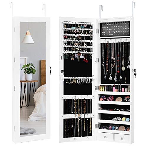 GIANTEX Schmuckschrank mit LED, abschließbarer Schmuckregal Schmuckkommode mit Spiegel, Spiegelschrank Wandschrank für Ketten, Ohrringe, Wandmontage, weiß