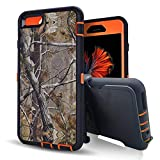 for iPhone 6/6S 4.7' Case, Kecko Heavy Duty High Impact Scratch Resistant Full Body Protective Defender Camo Hard Case Cover with Belt Clip Holster and Built-in Screen Protector (Tree Orange)